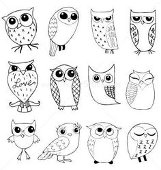 Owl Cute'ums - Would make adorable doodled placecards