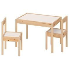 IKEA - LÄTT, Children's table and 2 chairs, white, pine, Its small dimensions make it especially suitable for small rooms or spaces. Cama Ikea, Kids Playroom Furniture, Brimnes, Childrens Desk, Ikea Ps, Pine Table, Table Height, Kiefer, Wall Storage