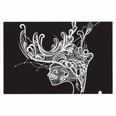 "Maria Bazarova ""Horned Woman"" Black White Decorative Door Mat"