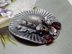 Signed ERMANI BULATTI Silver Hat Brooch w/Oak Leaf & Amethyst