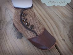 1860s reproduction girl's gaiter shoe in cotton/silk blend stripe with duck lining.