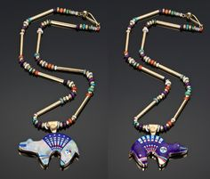 14k Opal & Sugilite Reversible Bear Necklace    by Jesse Monongya (Navajo). Click to enlarge: http://assets4.pinimg.com/upload/137641332332903178_ZsZpLREA.jpg