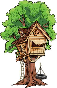 Clip Art - Clipart Suggest House Drawing For Kids, Tree House Drawing, Fairy House Crafts, Basket Drawing, Tree House Designs, Christmas Drawing, Cat Crafts, Environmental Art, Illustration