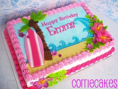 hawaiian theme sheet cake | sheet iced in BC with MMF decorations