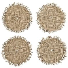 Jute & Seashell Coaster Set