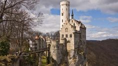 Perched on a cliff located near Honau on the Swabian Alb, Baden-Württemberg, the fairytale like Lichtenstein Castle was built in 1200 but was twice destroyed. Today, the castle is still owned by the Dukes of Urach, but it is open to visitors.