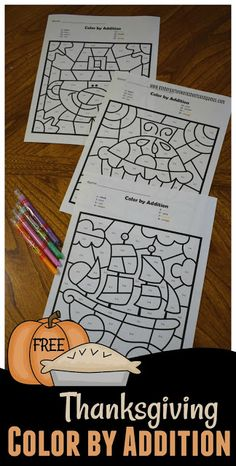 Kindergarten Worksheets and Games: FREE Thanksgiving Color by Addition