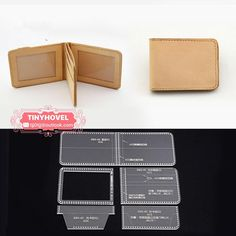 Leather Card clip Acrylic Template - 1 size for choose, Leathercraft Pattern Leather Money Clip Wallet, Leather Wallet Pattern, Small Leather Wallet, Leather Bifold Wallet, Leather Tutorial, Leather Working Patterns, Leather Portfolio, Leather Holster, Leather Projects
