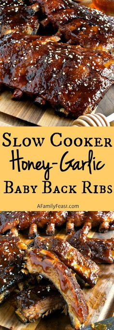 Slow Cooker Honey-Garlic Baby Back Ribs - Easy and super delicious! This will become your new favorite ribs recipe!