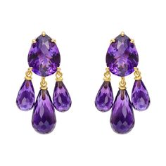 Amethyst chandelier earclips in yellow gold, composed of a pear-shaped amethyst suspending three pear-shaped amethyst drops. Purple Jewelry, Amethyst Jewelry, Amethyst Earrings, Diamond Jewelry, Gold Earrings, Fine Jewelry, Unique Jewelry, Jewellery, Diamond Studs