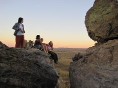 Students taking in the sunset in Isalo National Park, southwestern Madagascar.