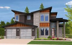 Plan 85123MS: Angled Entry 5 Bed Modern House Plan