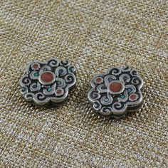 Endless Knot MosaicTibetan Bead,Tibetan Silver,Double Sided,Turquoise,Coral Inlay,Brass Beads,Unique,Large Beads,Swirl Repousse,One Bead by WanderlustWorldArts on Etsy