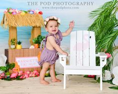 Sweet Baby Girl Summer Tiki Beach Theme Photos Baby First Birthday, 1st Birthday Parties, Cake Smash Pictures, One Year Pictures, Milestone Pictures, Themes Photo, Baby Portraits, Baby Milestones, Beach Photos