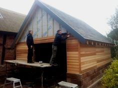 Cedar Clad Garage construction as part of a historical Restoration Project in Cheshire. Shed Cladding, Cedar Cladding, Cedar Shingle Siding, Roof Shingle Colors, Building A Garage, Garage Roof, Metal Roof Houses, House Roof, Garage Builders