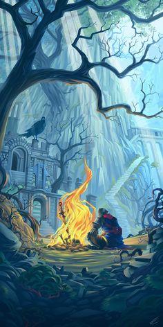 Firelink shrine wallpaper (not mine) - Dark Souls - Firelink shrine wallpaper (not mine) - Dark Souls 2, Arte Dark Souls, Demon's Souls, Dark Fantasy Art, Fantasy Artwork, Dark Art, Rpg Wallpaper, Rpg Dice, Soul Tattoo