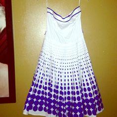 Strapless blue & white polka dot dress! -Strapless, zipper in the back, tule underneath the bottom, blue & white. Ruby Rox Dresses Midi