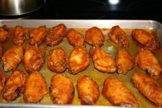 Homemade oven baked hot wings, yummy, these are on the menu for next week !!!
