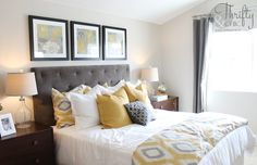 Yellow and gray bedroom model home home decor grey bedroom decor gray bedroom yellow gray bedroom . yellow and gray bedroom Yellow Gray Bedroom, Grey Bedroom With Pop Of Color, Grey Bedroom Decor, Grey Room, Trendy Bedroom, Bedroom Colors, Yellow Bedrooms, Bedroom Ideas, Bedroom Modern