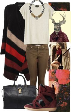 """Untitled #485"" by loveraige on Polyvore. red. burgundy. oxblood. sneaker wedge. taupe. t-shirt. ysl"