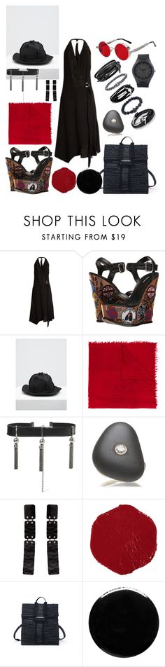 """""""starting from the sunglasses"""" by harikleiatsirka ❤ liked on Polyvore featuring Versace, Dsquared2, Yohji Yamamoto, Ann Demeulemeester, Sophie Buhai, CVC Stones, Proenza Schouler, Sisley and Nails Inc."""