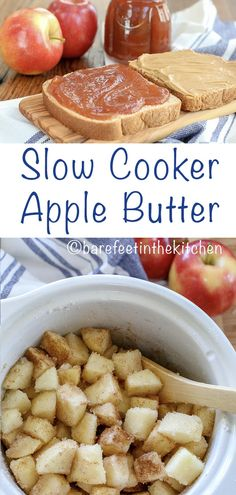 Homemade Apple Butter is so easy to make in the slow cooker! get the recipe at barefeetinthekitchen.com