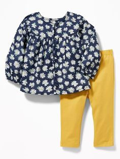 873420e71 Old Navy Babies' Button-Front Top And Leggings Set Daisy Print Regular Size  0
