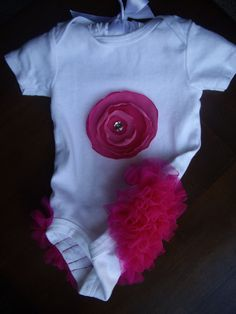 Adorable Ruffle Bum Baby Girl Bodysuit Onesie with by CuteyPatoot. , via Etsy.