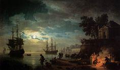 Claude Joseph Vernet, Night: Seaport by Moonlight, 1771, Oil on canvas, 98 x 164 cm, Musée du Louvre, Paris