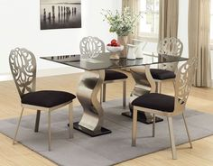 5 pc Misu collection squiggle legged glass top dinette set with black glass top and fabric upholstered chairs. This set features a glass top table with squiggle chrome metal base and glass top , 4 - side chairs with a black fabric upholstery. Living Room Upholstery, Upholstery Trim, Upholstery Cushions, Furniture Upholstery, Upholstered Chairs, Upholstery Cleaning, Glass Dining Table Designs, Glass Dining Table Set, Dining Chair Set