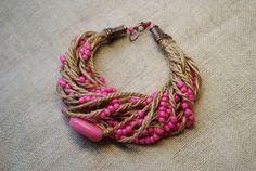 Нежно  розовое ожерелье и браслет в этническом от Yavorskaya