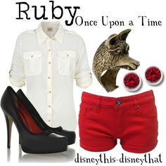 Love all this take on Once upon a time's Ruby, created by disneythis-disneythat on Polyvore...my fave is those shorts!