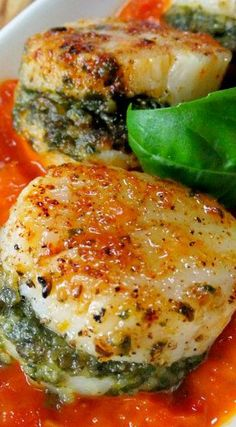 Pesto Stuffed Scallops