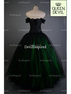 Green and Black Off-the-Shoulder Romantic Gothic Corset Prom Dress