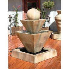 Double Oblique With Ball #Garden #Fountain  #outdoor #decor #design