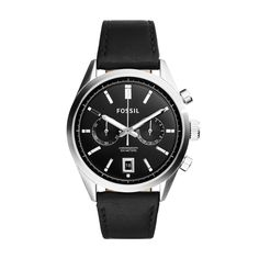 Shop for Fossil Men's Del Rey Chronograph Black Dial Black Leather Watch. Get free delivery On EVERYTHING* Overstock - Your Online Watches Store! Fossil Leather Watch, Black Leather Watch, Mens Watches Leather, Classic Leather, Leather Men, Gents Watches, Watches For Men, Winter Hats For Men, Men Watches