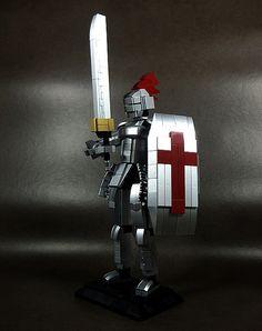 Knight in Armor Lego Dragon, Lego Books, Lego Knights, Lego Sculptures, Lego Builder, Knight Armor, Cool Lego Creations, Sword And Sorcery, Lego Design