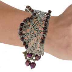 Handmade Crochet Knitted Silver Cuff Bracelet With Burgundy Purple Pearls - Anthos Crafts - 1