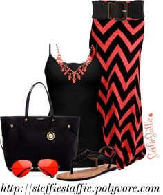 """Coral, Black & Chevron"" by steffiestaffie on Polyvore"