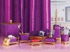 Gold And Purple Bathroom Vanity Accessories Sets Decolover