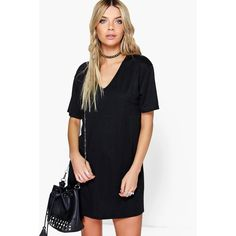 Boohoo Janie Midi V Neck Ribbed Dress ($20) ❤ liked on Polyvore featuring dresses, black, holiday dresses, body con dress, v neck cocktail dress, layering cami and v neck cami