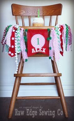 STRAWBERRY Birthday Age High Chair Highchair by RawEdgeSewingCo