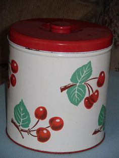 Vinate 1950's Decoware Cherries Metal Canister by Thegoodgranny, $14.00