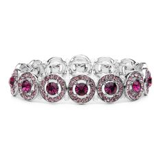 Bracelet Purple Amethyst Crystals Bridesmaids or Prom Jewelry  Bracelet from the Mariell bridesmaids and prom jewelry line features beautiful circles motif stretch bracelet is a stunning accessory for any dark or light Amethyst bridemaid or prom gown. This sophisticated geuine crystal bracelet will accessorize any mother of the bride, wedding party, prom or special occasion gown with shimmering Amethyst sparkle. The bracelet's one size fits all  536B-DA