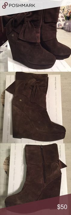 Calvin Klein Suede Boots Soft chocolate brown Suede boots by Calvin Klein. Worn 2 times- great condition Calvin Klein Jeans Shoes Ankle Boots & Booties
