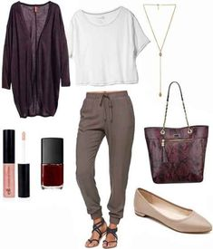 Slouchy pants white tee and flats outfit