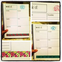 DIY Weekly Planner! Template made on InDesign and printed from home. Bound at local Staples store. An easy $5 tool to stay organized!