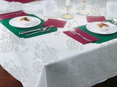 Silver Floral Prestige Linen Like Banquet Table Covers - 24 Count