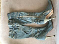 Dolce & Gabbana Denim Knee High Boots by treasurebemine on Etsy