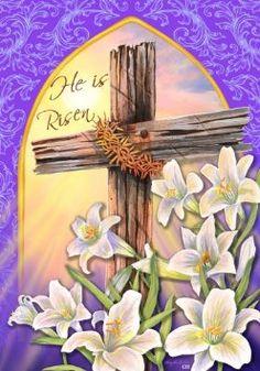 He Is Risen Easter Religious Cross Lily House Flag 28 x Patio, Lawn & Garden Easter Religious, Religious Cross, Jesus Ressuscité, Easter Garden, Summer Garden, Resurrection Day, Old Rugged Cross, Easter Cross, He Is Risen